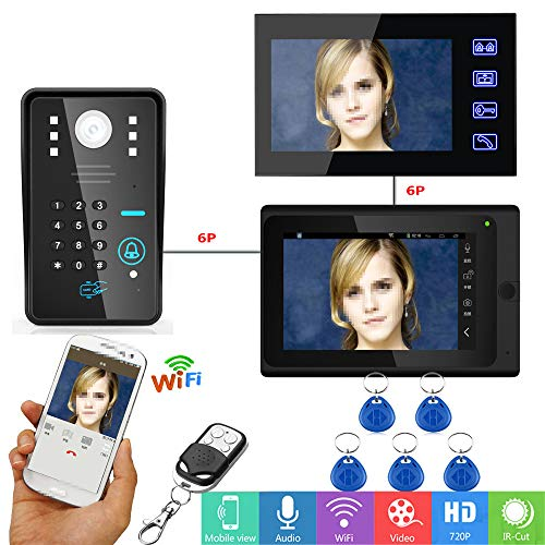 Ccd-kamera-system (JaidWefj Wired/Wireless WiFi Video Türsprechanlage Türklingel Intercom System mit 7-Zoll-HD 1000TVL CCD-Kamera RFID Passwort Nachtsicht (2 Monitore))