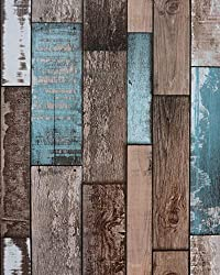 Vintage Wood Plank Wallpaper Contact Paper 16.4'x17.8