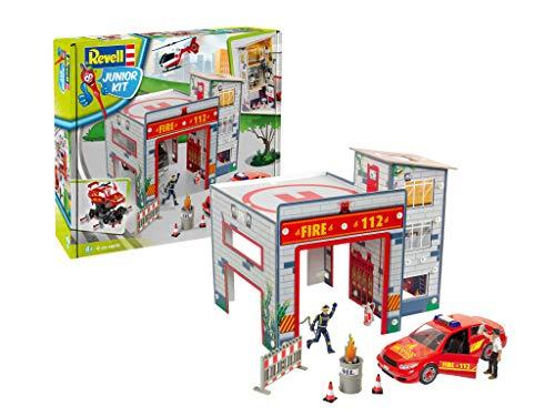 Revell Junior Kit 00850 Spielset Feuerwache, mit bespielbarer Feuerwehrstation, Auto, Figuren und Zubehör, Bauen - Schrauben - Spielen für Kinder ab 4, Mehrfarbig, 47x35x36,5 cm