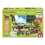 Schmidt Spiele 56241 Schleich, Heueinfahrt auf dem Bauernhof, Kinderpuzzle, 60 Teile, mit 2 Originalfiguren, grün