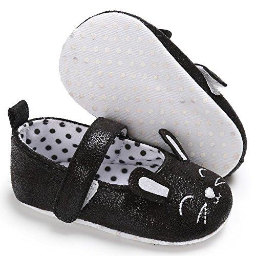 MiyaSudy Baby Mädchen Nettes Kaninchen Anti-Rutsch Weiche Sohle Prinzessin Schuhe Erste Wanderer 0-18 Monate Schwarz