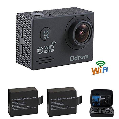 ODRVM Action cam WIFI Helmkamera HD 1080P Unterwasserkamera Digital Wasserdicht Kamera für motorrad,Fahrrad,Sufen,Skiing,kinder,drohne,hundeHelm,Tauchen,fahrrad etc