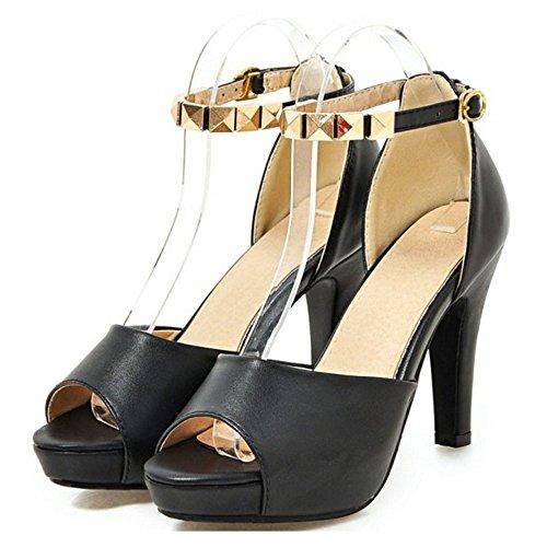 TAOFFEN Femmes Peep Toe Sandales Mode Bloc Talons Hauts Plateforme Chaussures Noir