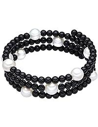 Valero Pearls - Pulsera de piedras preciosas embellecida con Perlas de agua dulce - Alambre de acero inoxidable - Pearl Jewellery, Pulsera de piedras preciosas con Ónix, Pulseras - 60200802