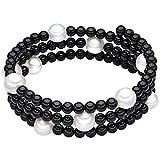 Valero Pearls - Bracelet en pierres précieuses - Perles de culture d'eau douce - Fil en acier inoxydable - Bijoux de perles onyx, bracelet onyx, bijoux en acier inoxydable, bijoux en onyx - 60200802
