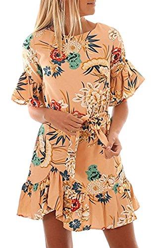 ECOWISH Blumenkleid Damen Sommerkleider Kurzarm Rundhals Kleid Strandkleider A-Linien Partykleid...