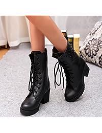 &ZHOU Botas otoño y del invierno botas cortas mujeres adultas 'Martin botas botas Knight A6-7 , black , 38