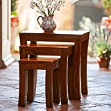 #9: Custom Decor Carissa Solid Wood Stool Set of 3 Nesting Bedside Tables - Indian Sheesham Wood Furniture(Mahogany Color)