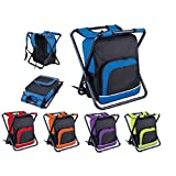 Vivo © Cooler Backpack & Folding Stool All In One Bag Picnic Camping Food Drink Lunch Festival Shopping Outing Car Fishing Hiking Ice [Orange]