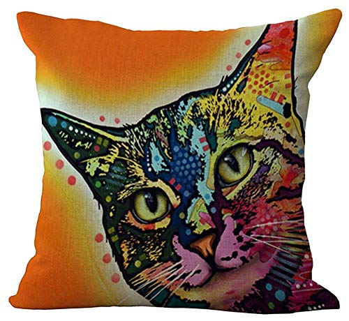 ewtretr Rainbow Cat Throw Pillow Cover Sham Slipover Cotton Linen Pillowslip Square Pillowcase for Home Car Seat Chair Deck -