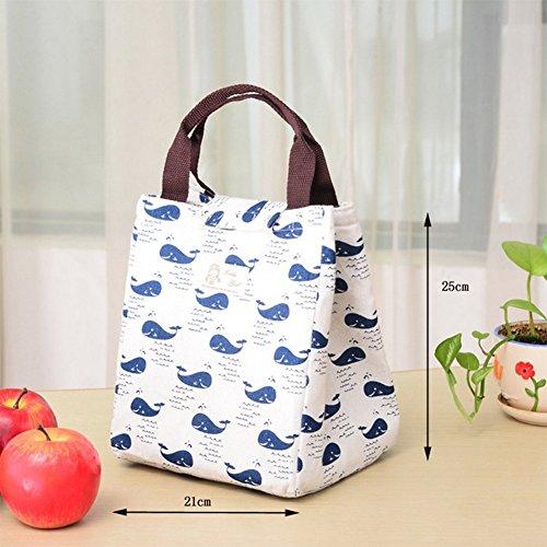 Fablcrew lunch Bags cute riutilizzabile borsa borsa termica da picnic pieghevole cotone impermeabile pranzo packet 25x21x18cm Tree Hedgehog