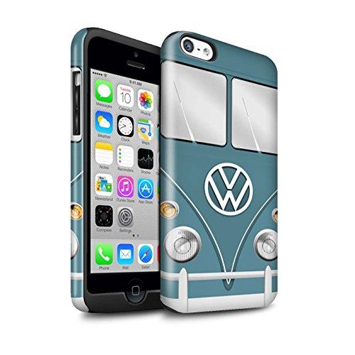 STUFF4 Glanz Harten Stoßfest Hülle / Case für Apple iPhone 5C / Perlweiss Muster / Retro T1 Wohnmobil Bus Kollektion Blau Taube