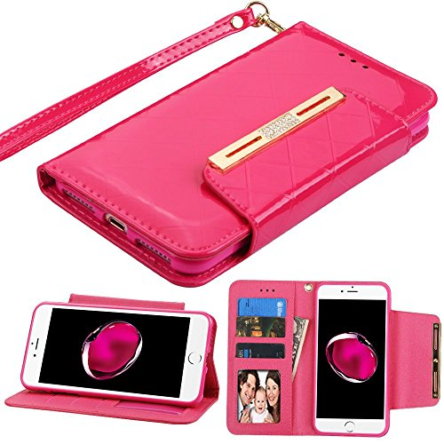 Asmyna Handy Fall für Apple iPhone 7Plus-Hot Pink Glänzend Checker Hot Pink Checker