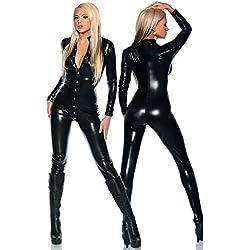NEIYI Mujeres Sexy Traje de lencería de Cuero Catwoman Látex Catsuit PVC Body Mamelucos Mono Traje de la Honda Clubwear, One Size