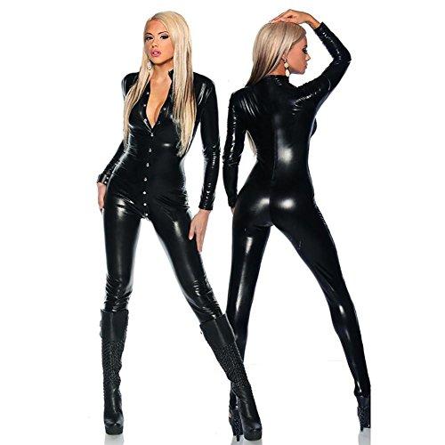 Frauen Sexy Leder Dessous Kostüm Catwoman Latex Catsuit PVC Body Strampler Overall Sling Kleid Clubwear, Black, one Size