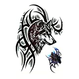 #1: 3D Temporary Tattoo Waterproof Sticker Beautiful Black Big Wolf Face Popular New Designs Size - 21x15cm