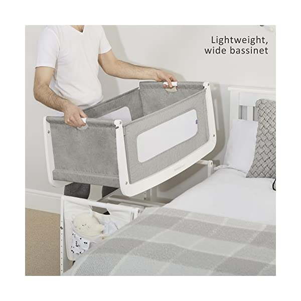 SnuzPod 3 Bedside Crib - Dusk Grey Snuz SnuzPod 3 has added functionality, a lighter bassinet and a more breathable sleeping environment. More than just a bedside crib; use as a bedside crib, stand alone crib or moses basket/bassinet. Simply attach the crib to your bed using straps provided (fits frame and divan beds) and your ready use as a bedside crib. The 9 different height settings allow you to ensure the crib is the right height for your bed (31-63cm) New! SnuzPod 3 now comes with an optional reflux function, by tilting the crib and setting an incline to reduce reflux symptoms little one can get a better nights sleep. 5