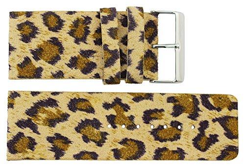 Moog Paris Braun Leder Uhrenarmband, Leopardmuster, Dornschließe, 34mm Uhrenarmband B34005 (Omega-uhr 34)