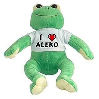 Plush Frog with I Love Aleko T-shirt (first name/surname/nickname)
