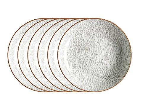 Domestic by Mäser 931042 série de Murcie, Lot de 6 Assiettes Creuses 21 cm, en, décoré dans la couleur Porcelaine, Gris, 61 x 30 x 20 CM, 6 unités