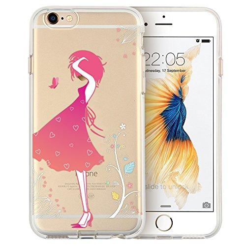 Phone 6Plus Schutzhülle, transparent weiche TPU Rückabdeckung mit niedlichem Muster für 14cm iPhone 6S Plus/6Plus (Blossom Girl) ()