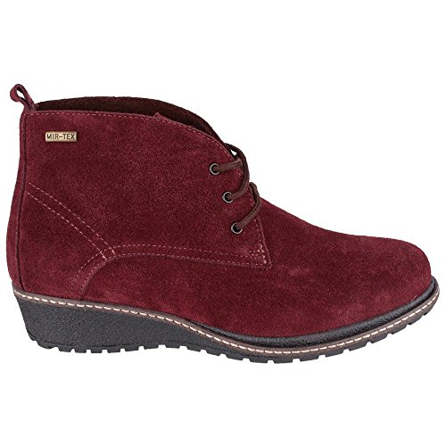 Cotswold Ladies Prinknash Suede Waterproof Lined Ankle Boot Red Bordo