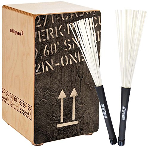 Schlagwerk CP404 BLK Cajon + KEEPDRUM SV603WH Brush Besen
