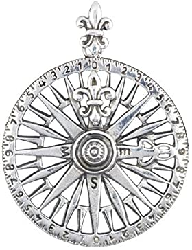Wunderschöner Wegweiser Groß 925 Sterling Silber Kompass Kettenanhänger Glücksbringer See