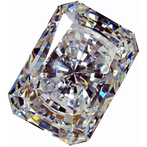 CUBIC ZIRCONIA (LOOSE STONE CUBICZIRCONIA) WHITE COLOR EMERALD SHAPE/ ROUND CUTTING CLEAR CZ 14.0 X 10.0 MM (10.00 CTS DIAMOND WEIGHT) SUPER & SUPER QUALITY .NOT AAA or AAAAA QUALITY by