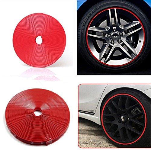 sk-e-shopping 8m 26ft Länge Auto Radnabe Edge Ring Anfahrschutz Tape Selbstklebende universal Stil Reifen Tire Guard Zubehör Rot (Universal-wärme-strip)