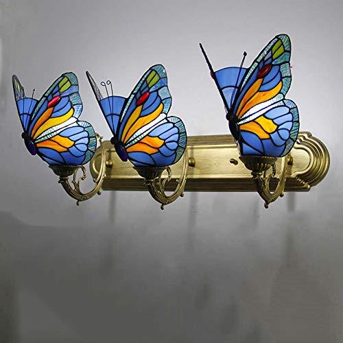 Applique in stile tiffany 3 luci, applique da parete retrò in vetro macchiato pastorale europeo, applique da parete a farfalla, corridoio, camera da letto, bar, bar, blu applique e27