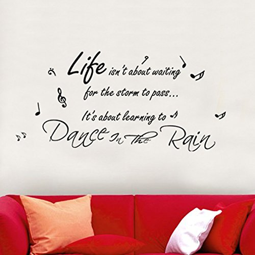 Walplus Wall Stickers ``Dance in The Rain Music`` Quote Removable Self-Adhesive Mural Art Decals Vinyl Home Decoration DIY Living Bedroom Décor Wallpaper Kids, Multi-colour