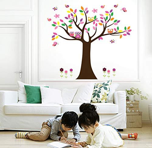 Bunte Vögel Eulen Schmetterling Baum Wandaufkleber Für Kinderzimmer Liebe Vögel Affe Wandtattoo Kinderzimmer Dekor