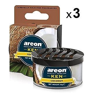 Areon Ken Lufterfrischer Dose Kokosnuss Auto Duft Autoduft Duftdose Wohnung Erfrischer 3D Set ( Coconut Pack x 3 )