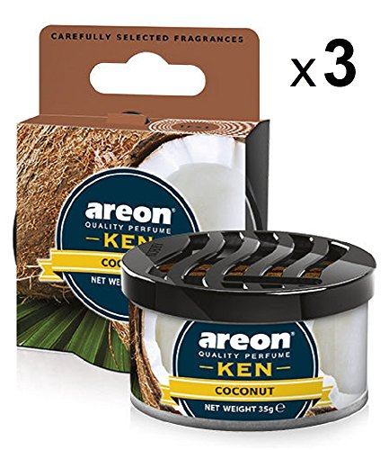 Areon Ken Deodorante Auto Cocco Dolce Tropical Ambiente Profumatore Contenitore Scatola Originale Profumo Interni Casa 3D ( Coconut Set x 3 )