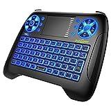 Mini Tastatur Beleuchtet,Dootoper Deutsch 2.4 GHz Wireless Keyboard/ 10 Meter Reichweite geeignet für Smart TV, Android TV Box, HTPC, IPTV, XBOX360, PC, PAD, PS3, Tablets usw (T16 Blue 2018)