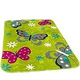 Decke Kinderdecken Schmetterlinge Grün Rosa Butterfly Kuscheldecke Spieldecke, Grösse:155x215 cm