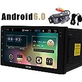 Autoradio coche en Dash Android 6.0 Quad Core HD 1080P unidad principal Doble Din de 7 pulgadas est¨¦reo UNIVERSAL GPS FM Radio AM RDS EQ Visualizaci¨®n AUX 3G / 4G WIFI OBD2 SWC t¨¢ctil de la c¨¢mara de la pantalla de copia de seguridad micr¨®fono externo