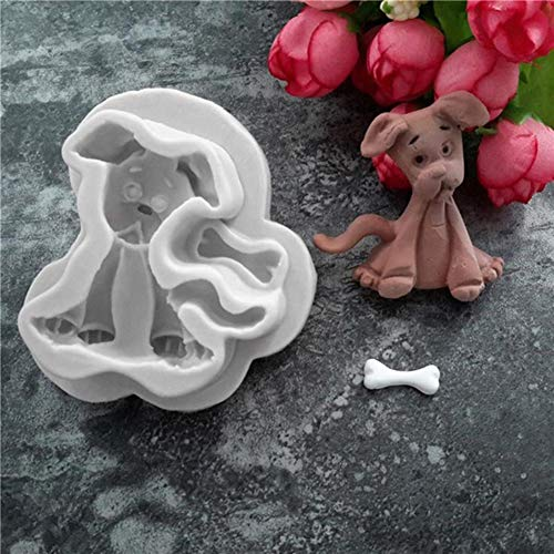 delle, Hundemuster Kuchen Schokoladenform Silikon Fondant Keks Backen Dekoratives Werkzeug Grauer Hund ()