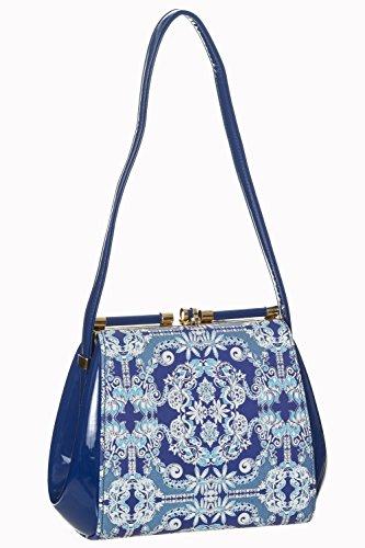 Verbotene Iva Weinlese-Retro- Handtasche Weiß / Blau