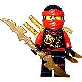 LEGO Ninjago: Minifigur Kai Skybound (roter Ninja) mit Schwerthalter, zwei LEGO Schwertern und einem GALAXYARMS Schwert