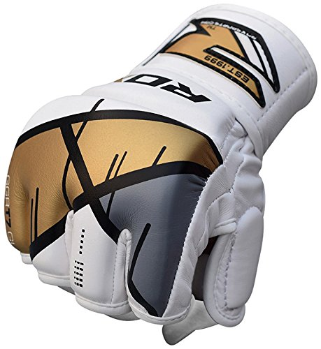 RDX MMA Handschuhe Sparringhandschuhe Leather-X GGR-T7, Gold, S