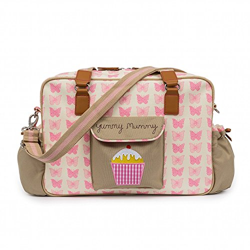 Yummy Mummy Stylish Nursery Changing Bag – Pink Butterflies Design – Includes Travel Changing Mat Cupcake Design