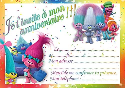 10 CARTES INVITATION ANNIVERSAIRE TROLLS in French (avec des enveloppes blanches)