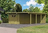 Karibu Doppelcarport ECO mit integriertem Abstellraum 3 und Wände Außenmaß (B x T): 527 x 576 cm Dachstand (B x T): 563 x 676 cm Pfostenstärke: 9 x 9 cm umbauter Raum: 63,4 cbm Dachfläche: 38,25 qm Abstellraum: Größe 3 (576 x 268 cm) Wände: 1 Rückwand