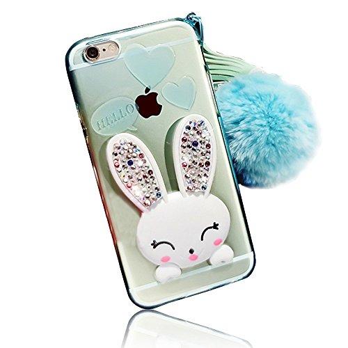 Sunroyal® iphone 6 6S Cover 3D Lovely Coniglio Custodia in Silicone Foldable Rabbit Bunny Ear Case Anti-urto Slim Trasparente Soft Morbido TPU Bumper Copertura della Protezione con Orecchio Supporto e Coniglio02
