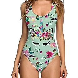 uideazone Traje de una Pieza Baño Mujer Impresión 3D Playa Bikini Sexy Bañador (Verde-Unicornio, S)