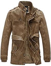 Vogstyle Homme Veste en Cuir PU Blouson Hiver Manteau Mode e727317b43df