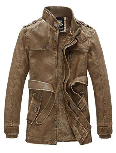 Vogstyle Herrn Winterjacke Kunstleder Lederjacke Pelz Fleece Mantel Jacken Art 7 Gelb