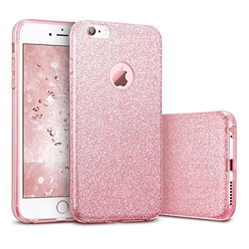 iPhone 6 Plus/6S Plus Hülle Glitzer Rose Gold Pink Sparkle Protective Bling TPU Luxus Phone Case 5.5